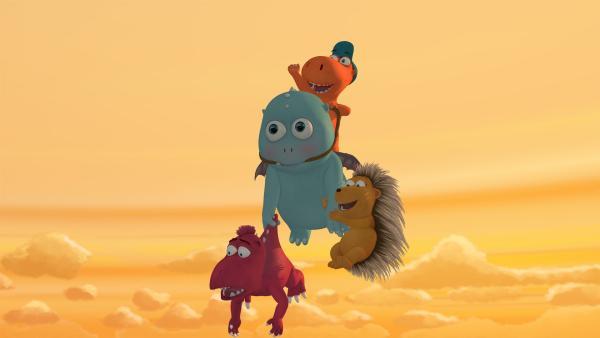 Kokosnuss, Matilda und Oskar begeben sich auf Abenteuerflug mit Baby Klaue.   Rechte: ZDF/Caligari Film