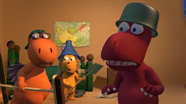 Kokosnuss, Matilda und Oskar haben sich für die Begegnung mit dem Rülpsgeist gerüstet. | Rechte: ZDF/Caligari Film