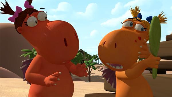 Pampelmuse und Mango sind schockiert: Sie haben sich die Drachenpocken eingefangen.   Rechte: ZDF/Caligari Film