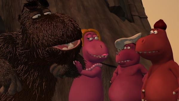 Siehe da, siehe da! Auch Höhlenungeheuer Balduin kann ein guter Gastgeber sein. | Rechte: ZDF/Caligari Film