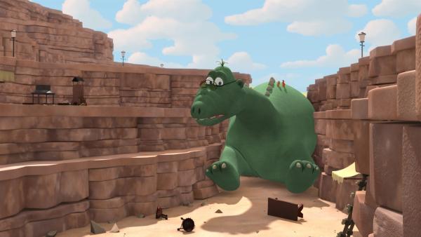 Big Bo steckt im Tal der Fressdrachen fest. | Rechte: ZDF/Caligari Film