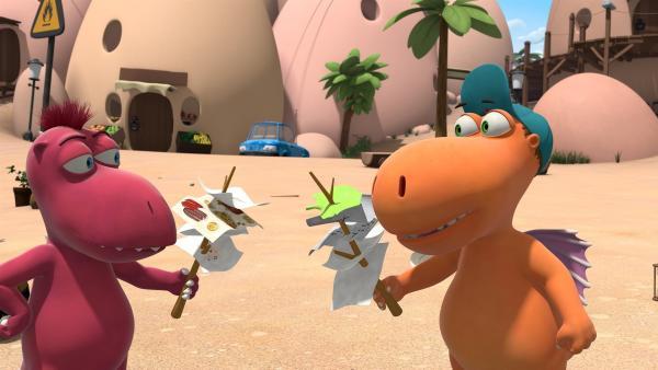 Kokosnuss und Oskar wissen, wie selbst die langweiligsten Aufräumarbeiten Spaß machen.  Man muss einfach nur einen sportlichen Wettkampf daraus machen. | Rechte: ZDF/Caligari Film