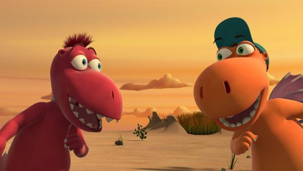 Endlich! Nach langem Grübeln haben Kokosnuss und Oskar die perfekte Melodie für eine neue Stammeshymne gefunden. Sie ahnen ja nicht, was noch auf sie zukommt. | Rechte: ZDF/Caligari Film