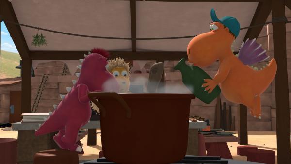 Weil Chef im Urlaub ist, müssen Kokosnuss, Oskar und Matilda die Fressdrachen bekochen. | Rechte: ZDF/Caligari Film