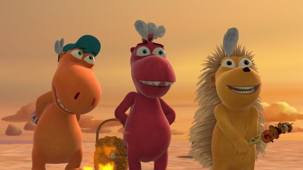 Kokosnuss, Oskar und Matilda haben sich etwas ganz Besonderes ausgedacht, um den Drachenschluckauf zu heilen. | Rechte: ZDF/Caligari Film