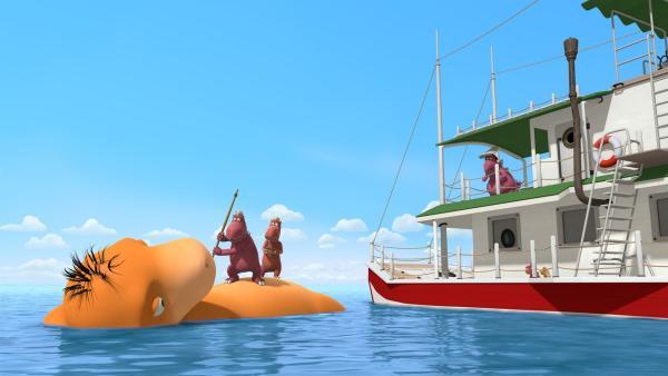 Chef macht Jagd auf Amadeus, den großen Meeresdrachen. Er wird ihm doch hoffentlich nichts antun wollen? | Rechte: ZDF/Caligari Film