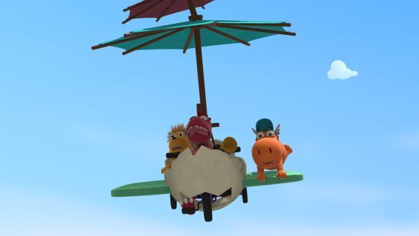 Trotz anfänglicher Schwierigkeiten ist Team Kokosnuss in der Luft und bereit für den Wettbewerb. | Rechte: ZDF/Caligari Film