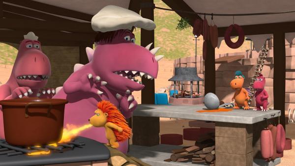 Matilda heizt Chef mal so richtig ein. Denn sie ist nicht zufrieden mit seinem Essen. | Rechte: ZDF/Caligari Film