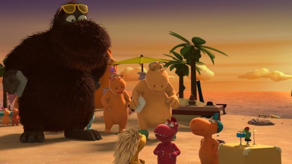 Mini Mo ist zurück auf der Dracheninsel. Das muss gefeiert werden. | Rechte: ZDF/Caligari Film