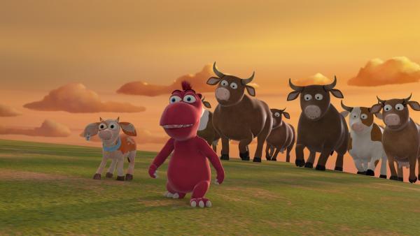 Oskar und Steaky wollen einen Spaziergang machen. Doch plötzlich folgt ihnen die gesamte Kuhherde. | Rechte: ZDF/Caligari Film