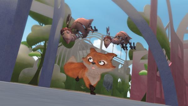 Auf der Suche nach Colorius werden der kleine Prinz und Fuchs von unheimlichen Vögeln, den Schattenvögeln, angegriffen... | Rechte: WDR/ARD