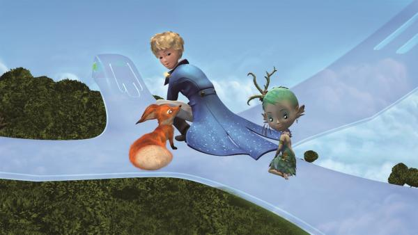 Der kleine Prinz und Fuchs sind zusammen mit Natura auf dem Weg, um<br/>Thalamus zu finden: Thalamus ist der einzige, der helfen kann, den<br/>kranken Planeten zu heilen. | Rechte: WDR/ARD