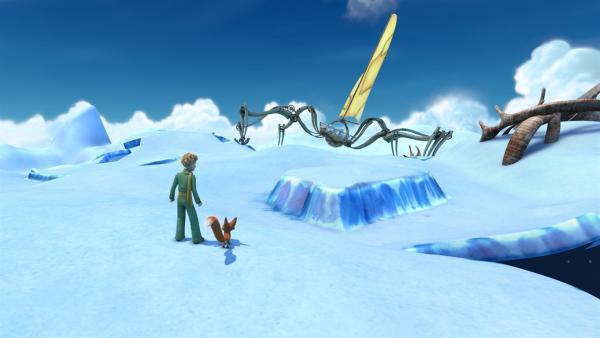 Der kleine Prinz und Fuchs entdecken ein seltsames Gefährt, das in einem<br/>gefährlichen Eiskrater steckengeblieben ist. | Rechte: WDR/ARD