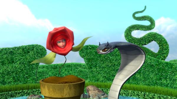 Die Schlange versucht unermüdlich, Rose als Freundin für sich zu gewinnen. | Rechte: WDR/ARD