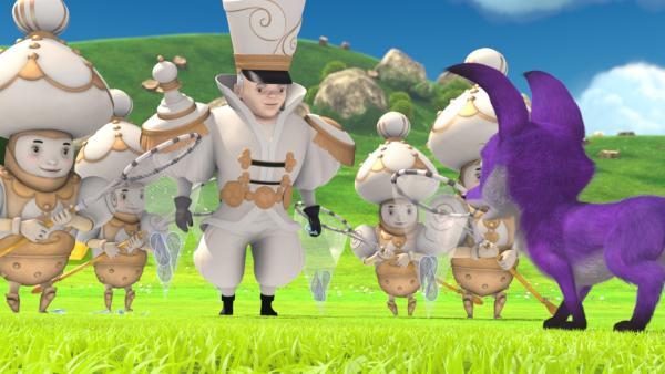 König Weißfried und seine Spielfiguren fangen die geheimnisvollen Kristalltränen auf. | Rechte: WDR/Method Animation/Saint-Exupéry-d'Agay Estate/LPPTV/France Télévisions
