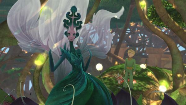 Der kleine Prinz ist fasziniert von der anmutigen Dornenkönigin. | Rechte: WDR/Method Animation/Saint-Exupéry-d'Agay Estate/LPPTV/France Télévisions
