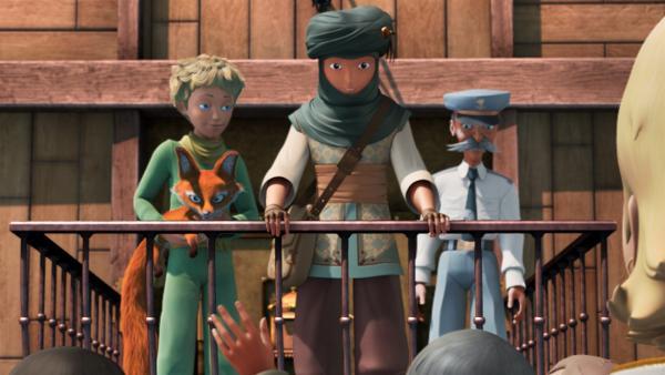 Der kleine Prinz und Fuchs sind froh, dass sie Samir (Mi.), den Geschichtenerzähler, wiedergefunden haben. | Rechte: WDR/ARD
