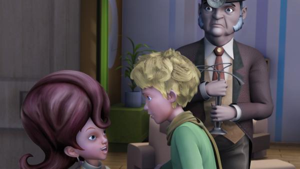 Der kleine Prinz findet Einlass bei Fiona, die ihm merkwürdige Dinge über den Planeten erzählt. Wolfram, der Lampenverkäufer glaubt ihr kein Wort. | Rechte: WDR/ARD