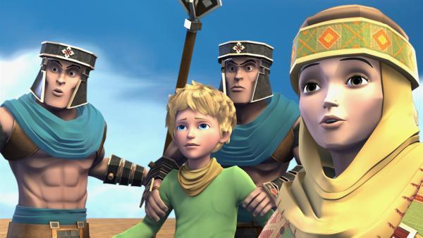 Die Soldaten sind den Einflüsterungen der Schlange gefolgt und nehmen den kleinen Prinzen und seine Freundin Shania gefangen. | Rechte: WDR/ARD