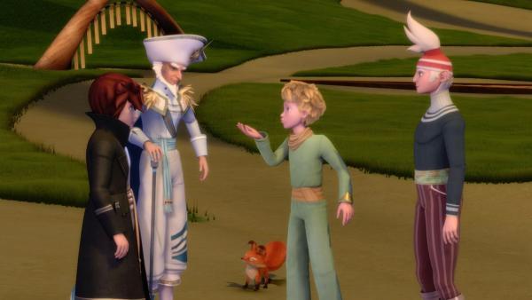 Föhn (re.) stellt dem kleinen Prinz, (2.v.re.) und dem Fuchs den Gouverneur der Winde - Aeolus - und seinem Sohn Tai-Fun (li.) vor. | Rechte: WDR/ARD