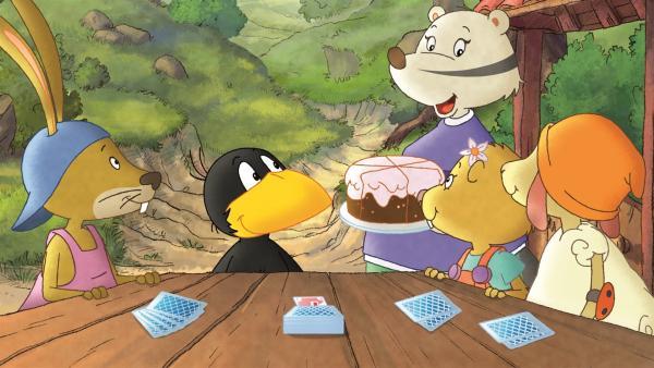 Beim kleinen Raben und seinen Freunden gibt es heute Kuchen. | Rechte: SWR/NDR/Akkord Film