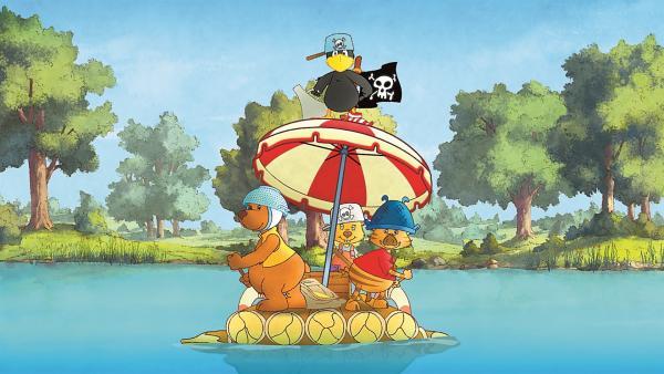 Socke und seinen Freunde auf einem großen Floß. | Rechte: SWR/NDR/Akkord Film
