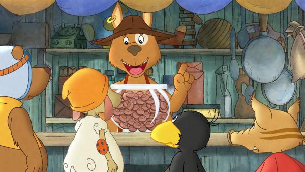 Für den besten Pilzesammler gibt es von Herrn Hund ein großes Glas voll Schokolade. | Rechte: SWR/NDR/Akkord Film