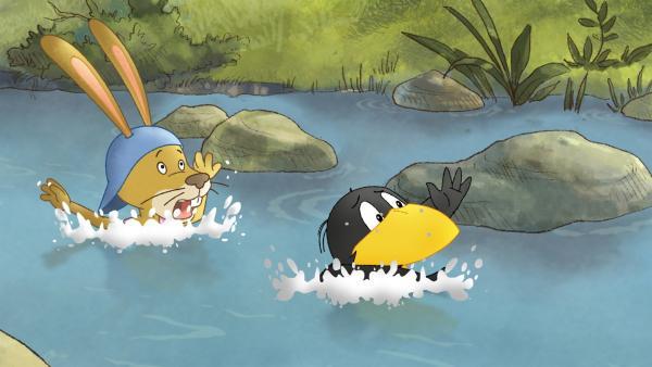 Auweia! Socke und Löffel können doch nicht schwimmen. | Rechte: SWR/NDR/Akkord Film