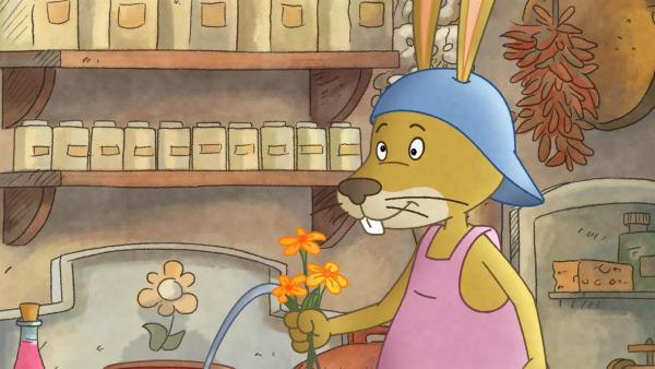 Diese Blumen riechen aber komisch, findet Löffel. | Rechte: SWR/NDR/Akkord Film