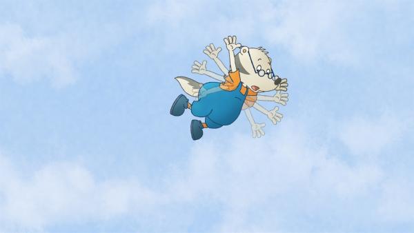 Der Kleine Dachs soll bei Socke das Fliegen lernen. | Rechte: SWR/NDR/Akkord Film