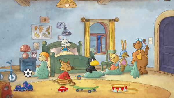 Socke und seine Freunde feiern eine Übernachtungsparty. | Rechte: SWR/NDR/Akkord Film