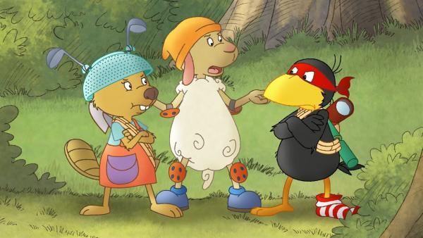 Wolle versucht zwischen Socke und Fritzi zu schlichten. | Rechte: SWR/NDR/Akkord Film
