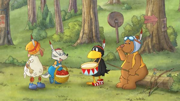 Socke und seine Freunde spielen Indianer. | Rechte: SWR/NDR/Akkord Film