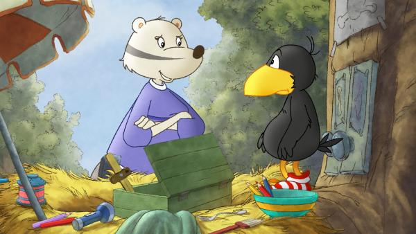 Frau Dachs will, dass Socke sein Nest aufräumt.   Rechte: SWR/NDR/Akkord Film