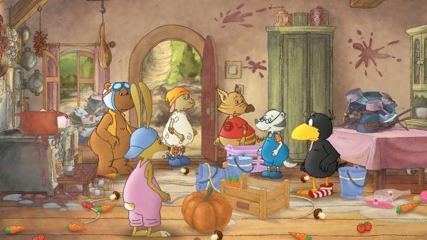 Socke und seine Freunde sind mit der Hausarbeit völlig überfordert. | Rechte: SWR/NDR/Akkord Film