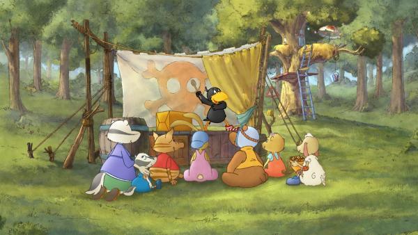 Alle sind zu Sockes großer Zaubershow gekommen. | Rechte: SWR/NDR/Akkord Film