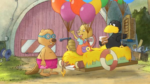 Zu Sockes Leidwesen will Henry mit auf die Ballonfahrt. | Rechte: SWR/NDR/Akkord Film