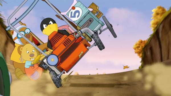 Socke kann sich beim gefährlichen Rennen auf seine Freunde Fritzi und Eddi verlassen. | Rechte: SWR