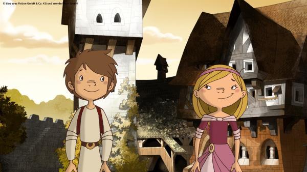 In seinem Pagengewand passt der Bauernjunge Trenk sehr gut zum Burgfräulein Thekla - und abenteuerlustig sind sie beide auch. | Rechte: ZDF/blue eyes Fiction/WunderWerk