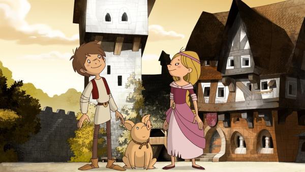 Der Bauernjunge Trenk, das Burgfräulein Thekla und Ferkelchen halten immer zusammen. | Rechte: ZDF/blue eyes Fiction/WunderWerk