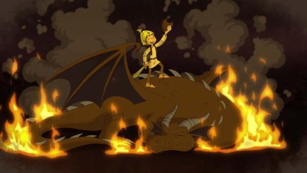 Trenk träumt davon, den gefährlichen Drachen zu besiegen. | Rechte: ZDF/blue eyes Fiction/WunderWerk