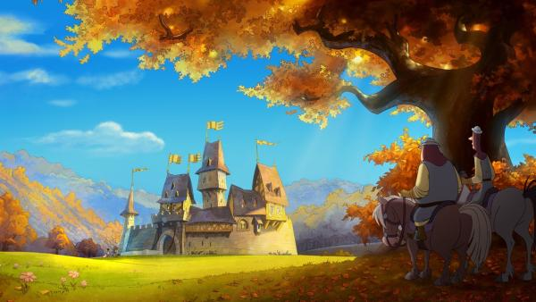 Burg Hohenlob, der Stammsitz von Ritter Hans und seiner Tochter Thekla, liegt bei schönstem Wetter  in einer Senke zwischen fruchtbaren Weinbergen. Doch die Idylle ist bedroht. Im Halbdunkel eines Baumes bewerten zwei Soldaten des machthungrigen Ritter Wertolt die Chancen eines Angriffs. | Rechte: ZDF/blue eyes fiction