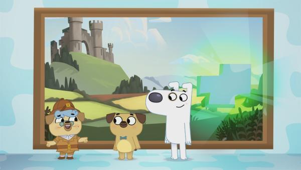 In Oma Pucks Bild fehlt ein Puzzleteil. Wo können Dog und Puck es wohl finden? | Rechte: KiKA/Dog Loves Productions Limited 2020
