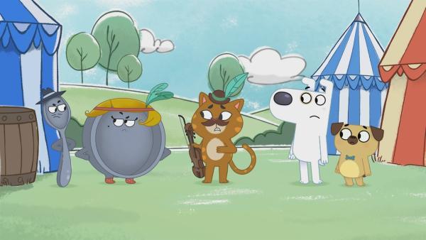 Auf dem Hey-Didel-Didel-Sportfest treffen die Freunde auf eine fidelnde Katze und schlecht gelauntes Geschirr. | Rechte: KiKA/Dog Loves Productions Limited 2020
