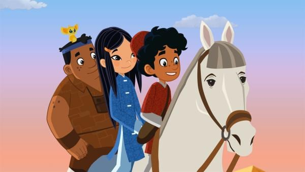 Marco und seine Freunde sind auf der Flucht. Sie werden von Beduinen verfolgt, die ihnen  das wertvolle Pferd Fazil stehlen wollen. Schwindelerregende Abenteuer erwarten euch! | Rechte: MDR/ARD/MotionWorks 2018