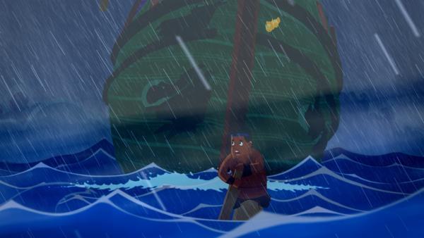Das Schiff der Freunde strandet an der Küste des Peloponnes. | Rechte: MDR/MotionWorks/Marco Polo Prod.Inc./Melusine Prod./Magpie 6 Media Ent.Ltd./Monster Ent.Ltd.