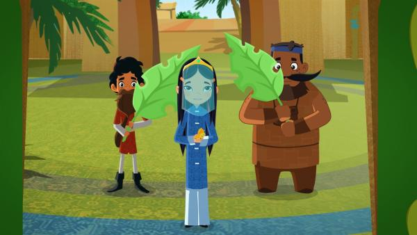 Marco (li.) will dem Sultan mit einer Geschichte die Augen öffnen. | Rechte: MDR/MotionWorks/Marco Polo Prod.Inc./Melusine Prod./Magpie 6 Media Ent.Ltd./Monster Ent.Ltd.