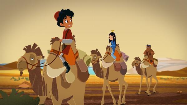 Marco, Shi La, FuFu und Luigi (v.l.n.r.) sind in Isfahan angekommen. | Rechte: MDR/MotionWorks/Marco Polo Prod.Inc./Melusine Prod./Magpie 6 Media Ent.Ltd./Monster Ent.Ltd.