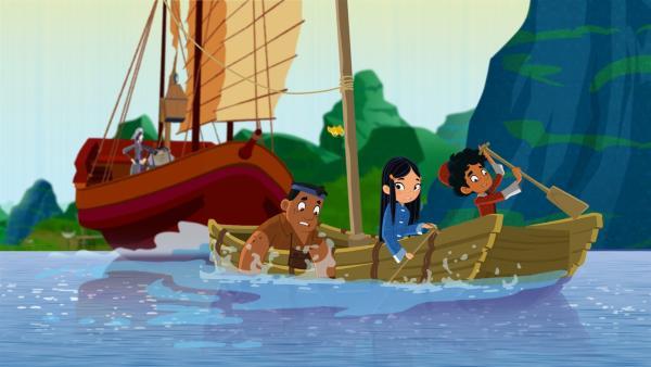 Die Freunde stören mit ihrem kleinen Boot den Piratenangriff und werden dabei versenkt. | Rechte: MDR/MotionWorks/Marco Polo Prod.Inc./Melusine Prod./Magpie 6 Media Ent.Ltd./Monster Ent.Ltd.