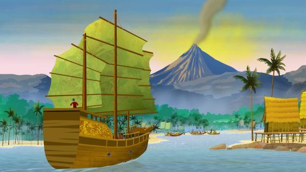 Marco, Shi La und Luigi kommen endlich auf Java an. Doch hier herrscht blanke Panik! Unsere Helden wollen rauf auf die Insel, alle anderen wollen runter von der Insel! Der große Berg ist wütend geworden und grummelt bedrohlich!   | Rechte: MDR/ARD/MotionWorks 2018